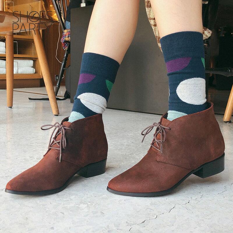 【B2-18121L】率性綁帶小尖頭短靴_Shoes Party 2