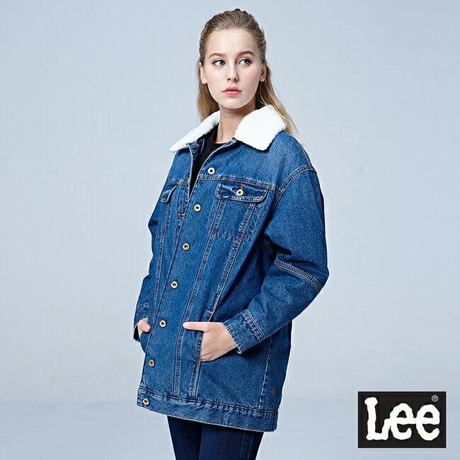 【全館免運 | 滿額↘再折$150】Lee 可拆式毛領厚背刺繡牛仔外套 101+ 中藍色