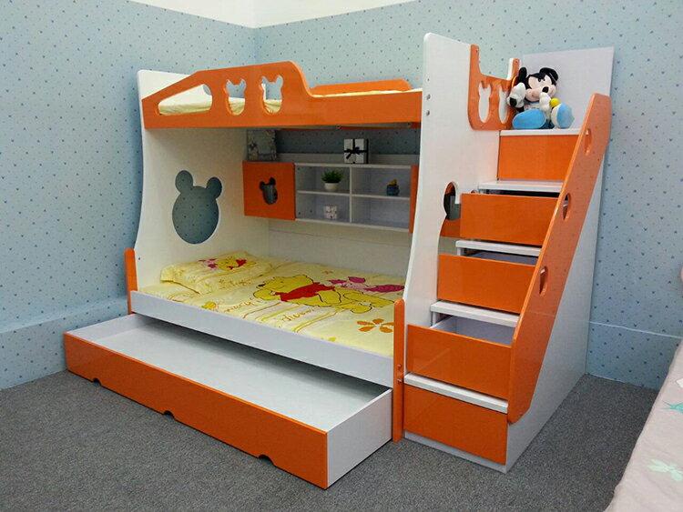 [首雅傢俬] 熊寶寶 三層床 上下舖 床架 ,含 梯櫃 子床 (一大抽款)