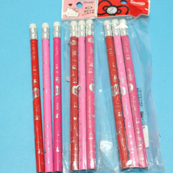Hello Kitty凱蒂貓學齡前鉛筆 學齡前兒童專用大三角鉛筆2B(袋裝)/一袋3支入{促50}~正版授權~出清商品~佳
