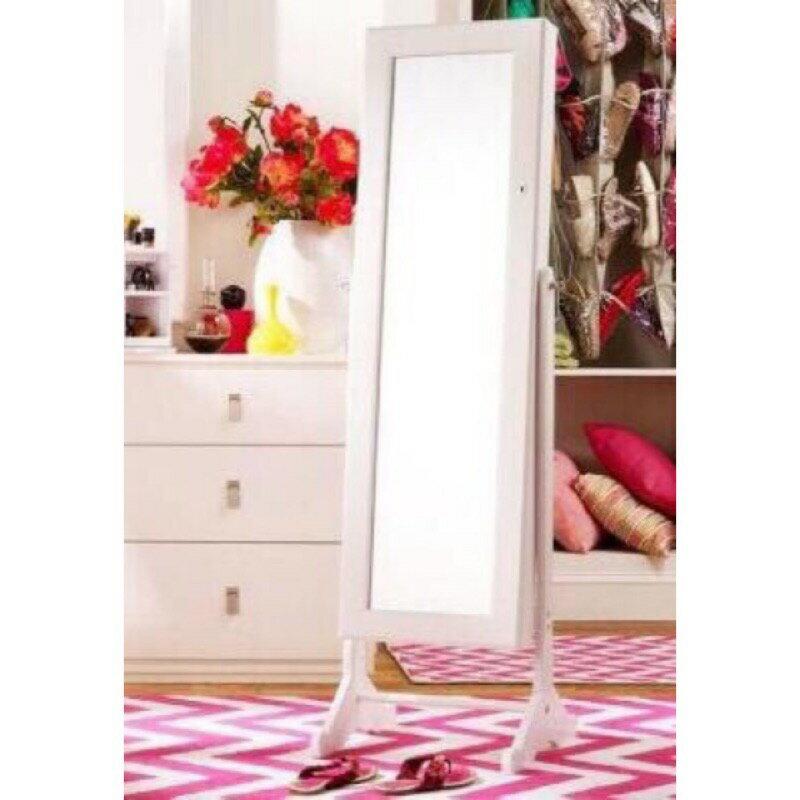 !新生活傢俱!《鏡白天使》非拱形 韓版白色 換衣鏡 可掛飾品 全身鏡 新古典 珠寶穿衣鏡 珠寶櫃 立鏡 歐式