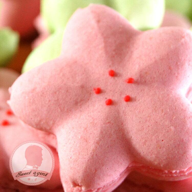 【甜點特務】[ 櫻花馬卡龍 ] 5入組合,法式覆盆子、日式抹茶+白巧克力 比一般大顆喔!!!! 約5公分喔。 2