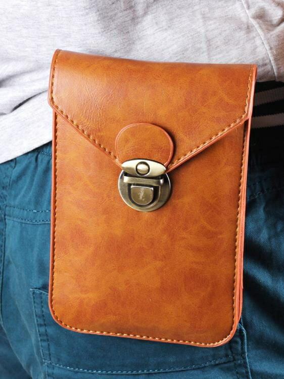 時尚薄款手機包男腰包6.5寸豎款5.5多功能掛腰皮套穿皮帶pu手機包 -洛麗塔-免運-品質保證