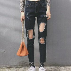美麗大街【KA48】 韓國東大門個性破洞黑色牛仔褲女高腰寬鬆小腳顯瘦九分直筒褲
