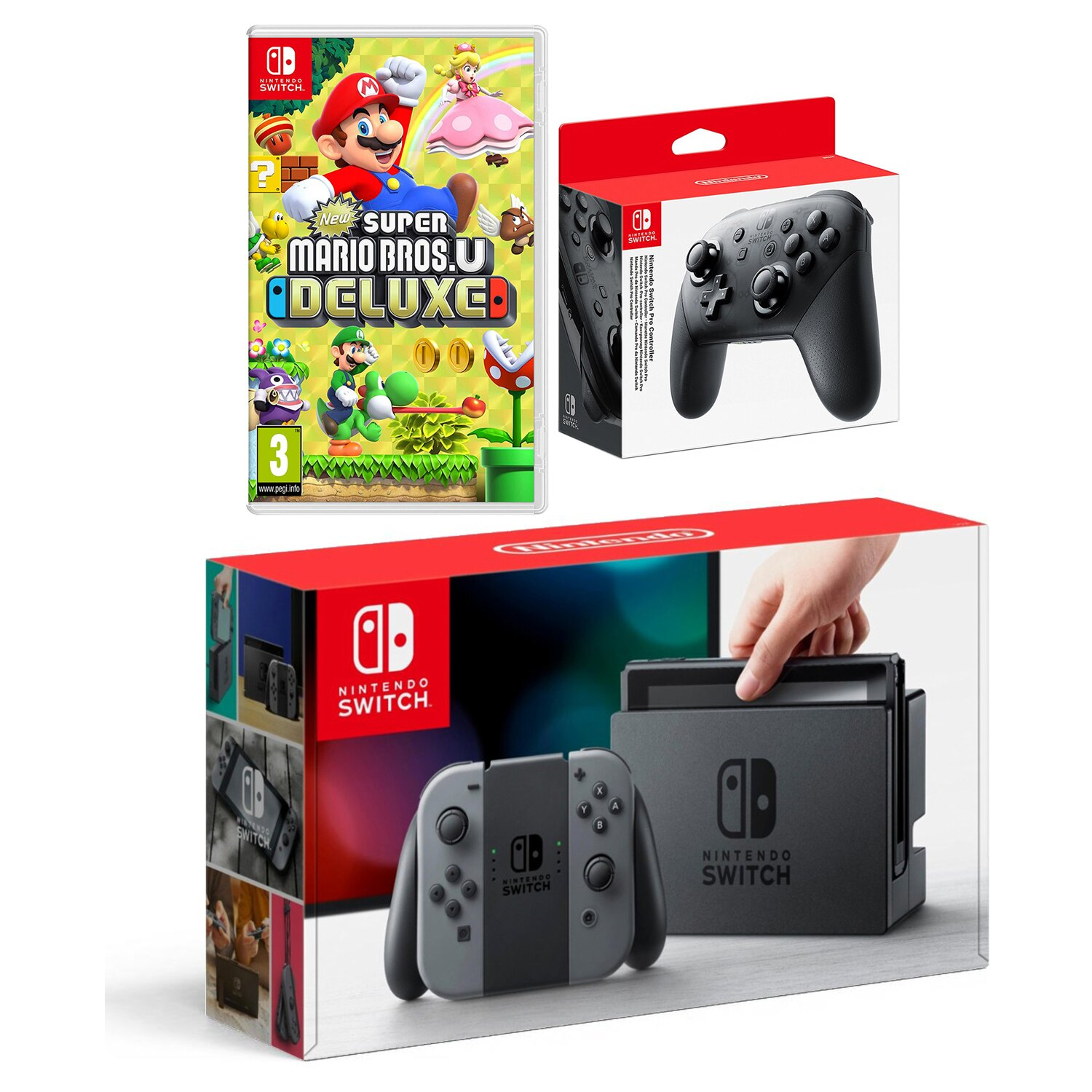 Nintendo Switch Console Gray with New Super Mario Bros U Deluxe and Pro  Controller