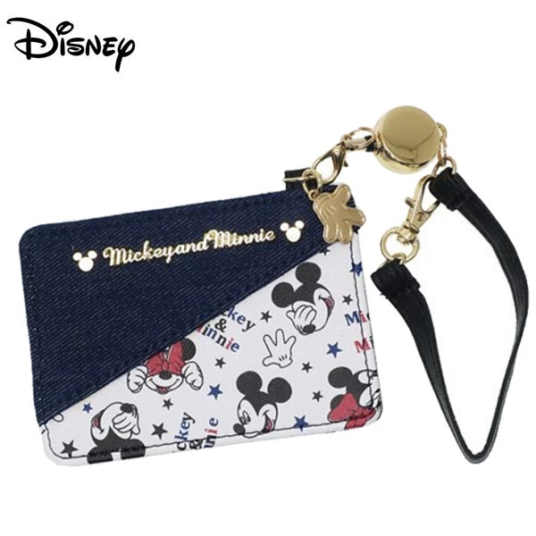 【日本正版】米奇 米妮 彈力 票卡夾 證件夾 悠遊卡夾 Mickey Minnie 迪士尼 Disney - 489416