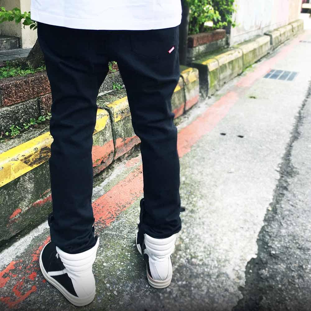 STAGE KNEE PLEATED PANTS 黑色 單色 2