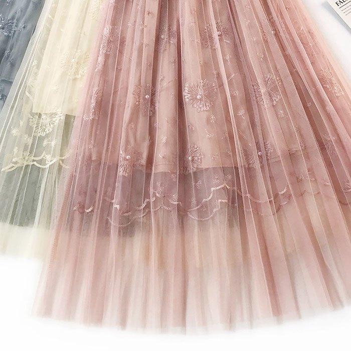 長裙 素色 網紗裙 繡花 及膝裙 波浪下擺 鬆緊腰 長裙【HA413】 BOBI  02 / 14 5