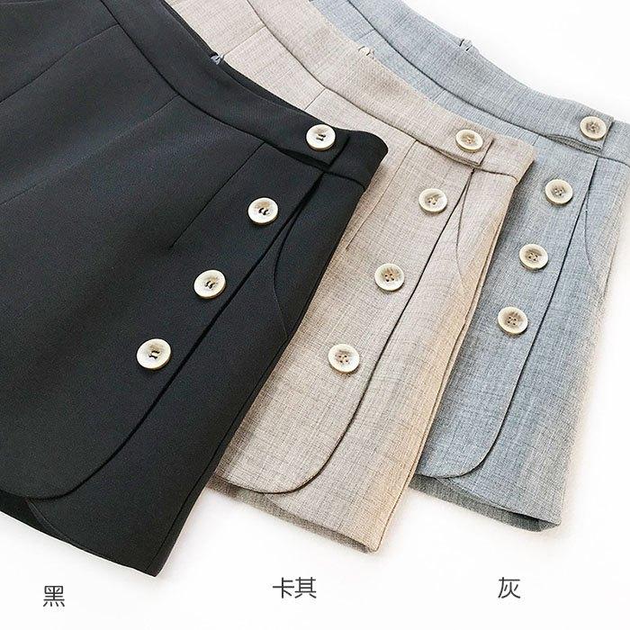 短褲 素色 單邊 排釦 壓摺 後拉鍊 寬管褲 百搭 短褲【HA848】 BOBI  02 / 14 2