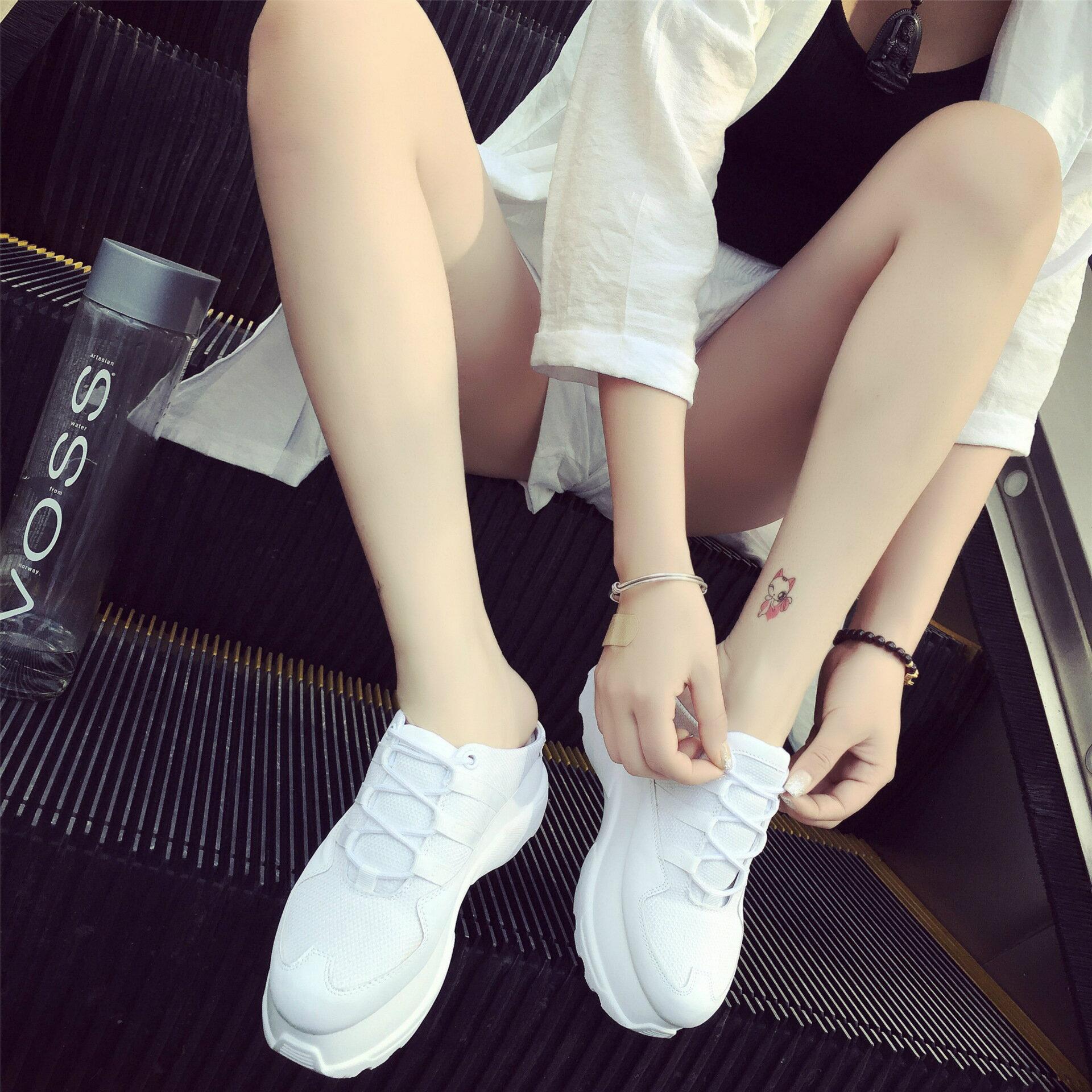 歐美厚底小白鞋採後腳無後跟半拖鞋包頭厚底休閒百搭懶人鞋女鞋