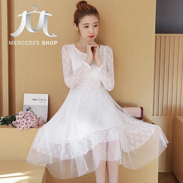 《全店75折》春裝中長款泡沫盯珠網紗連身裙長袖洋裝(S-XL,3色)-梅西蒂絲(現貨+預購)