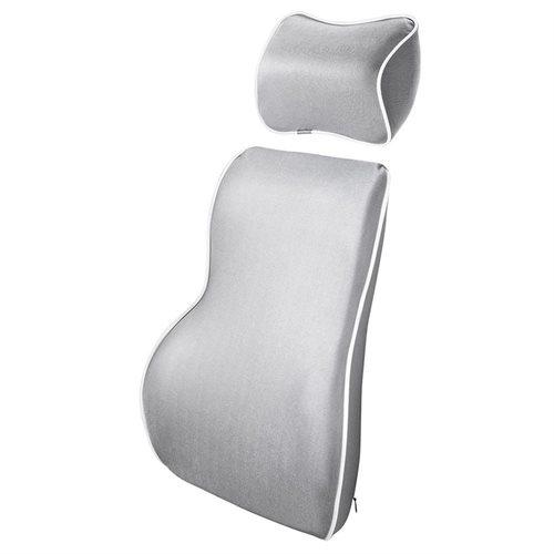 Premium Memory Foam Car Seat Lumbar Back Cushion Neck Headrest Pillow Kit Home Gray