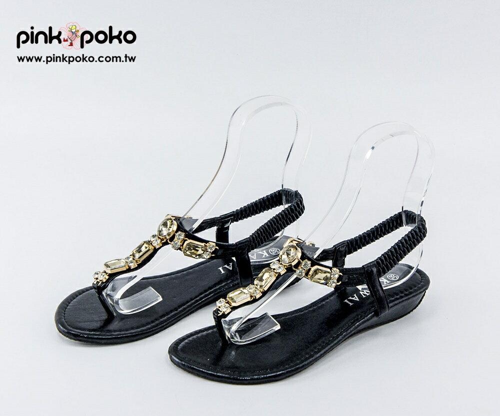 涼鞋 ~PINKPOKO粉紅波可~璀璨華麗寶石水鑽T字夾腳低跟楔型涼鞋~2色 #1155
