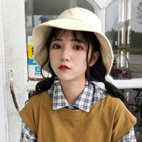 糖衣子輕鬆購【BA0187】日系百搭漁夫帽可愛清新盆帽防曬遮陽帽