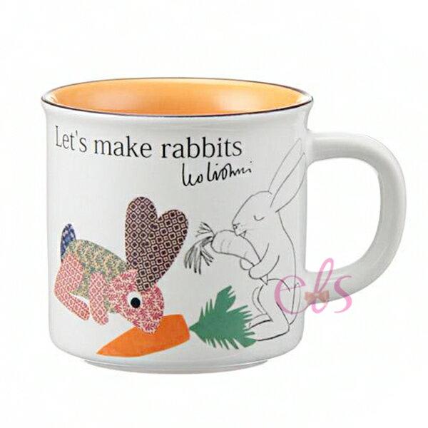 荷蘭繪本作家 LEO LIONNI 馬克杯 let's make rabbits 蘿蔔兔子 白橘色 ☆艾莉莎ELS☆