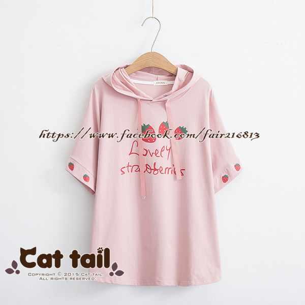 《貓尾巴》TS-0919 學院風草莓印花連帽短袖T恤(森林系 日系 棉麻 文青 清新)