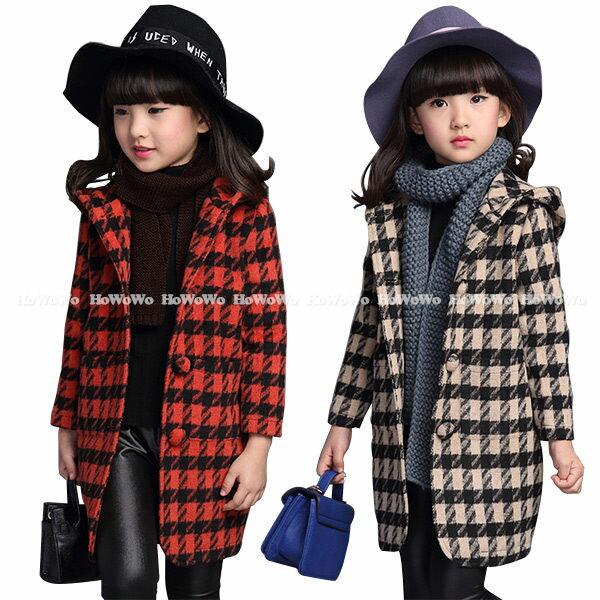 中大童外套 千鳥格毛呢大衣 長版洋裝式連帽外套 FM15201