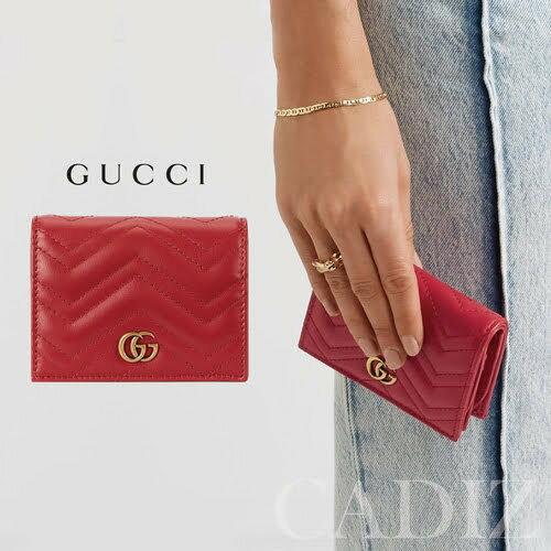 義大利正品 GUCCI GG marmont Red leather wallet 紅色皮革金色雙G短夾 466492