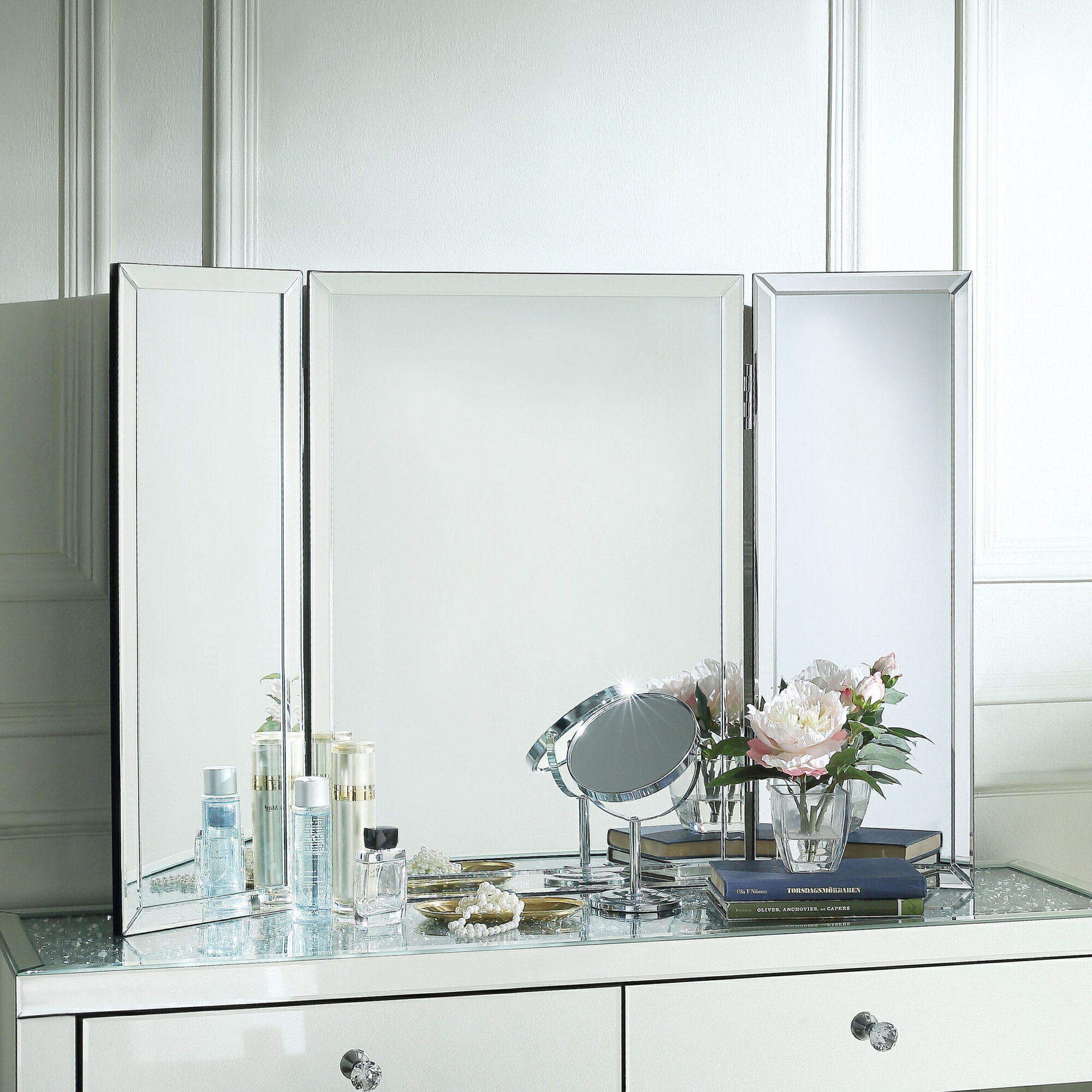 Vanity Mirror.Wallace Tabletop Vanity Mirror Tri Fold Mirrored Frame Free Standing Or Wall Mounted Small Or Large