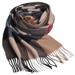 BURBERRY 經典大方格紋喀什米爾羊毛披肩/圍巾(駝色/大200x36)