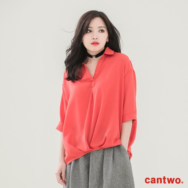 cantwo弧襬五分袖雪紡襯衫(共三色) 0
