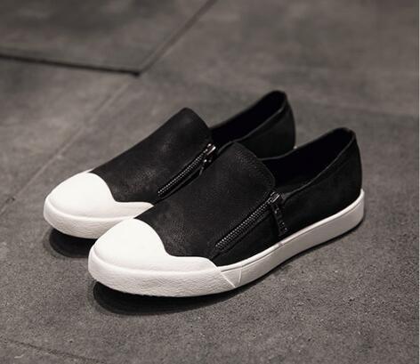 FINDSENSE服飾:FINDSENSEMD日系時尚潮男高品質頭層牛皮免綁帶側拉鏈一腳蹬懶人鞋低跟休閒鞋板鞋