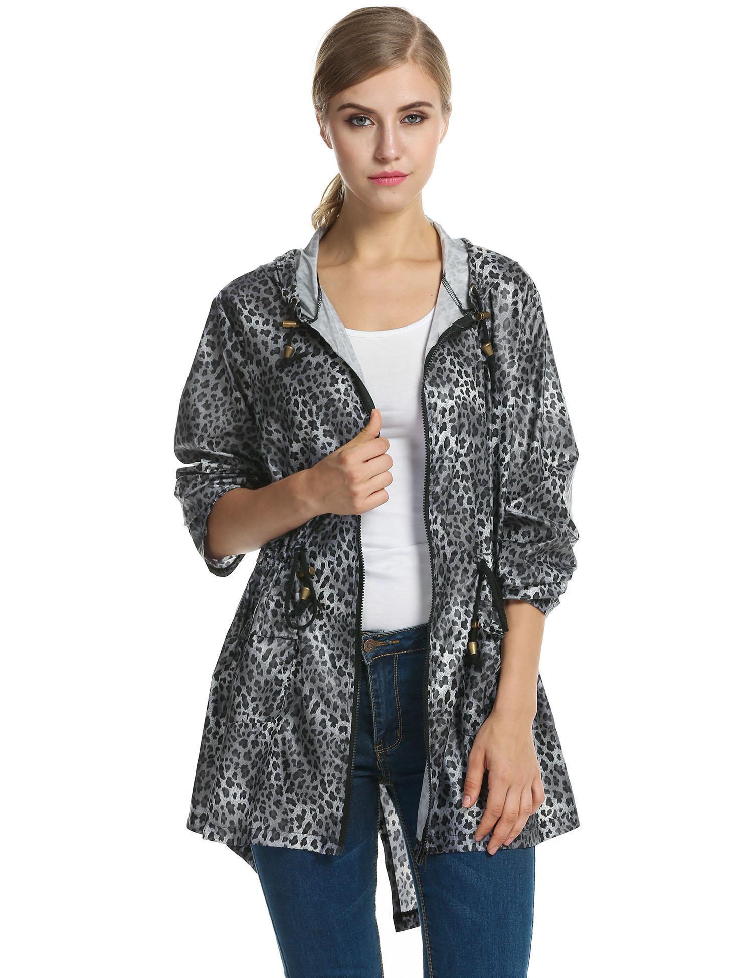 Women Leopard Fishtail Waist Drawstring Hooded Long Raincoat 4