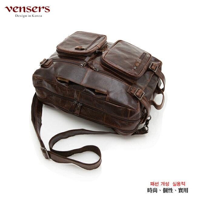 【Vensers】小牛皮潮流個性包~多功能包(NE991101深咖啡) 2