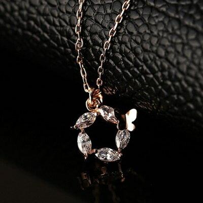 玫瑰金項鍊 水晶純銀吊墜 ~優雅氣質小蝴蝶 生日情人節 女飾品73dw136~ ~~米蘭