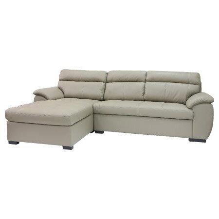 ◎(OUTLET)半皮右躺椅L型沙發 CAPUCCINO LC BE 福利品 NITORI宜得利家居 2