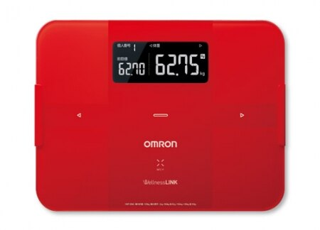 OMRON歐姆龍體脂肪計 HBF-254C(紅色),限量加贈小腿按摩器HM252及專用提袋(送完為止)