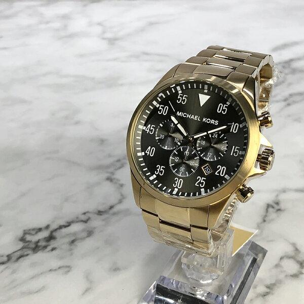 美國百分百【MichaelKors】手錶MK8361男錶MK不鏽鋼三眼禮盒專櫃配件黑面香檳金J035