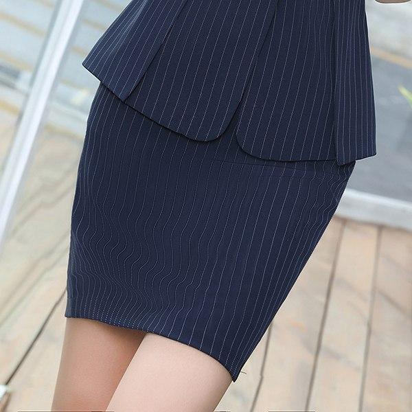 灰姑娘[ZY-7233-PF]清新氣質條紋包臀粉領款式職業窄裙~