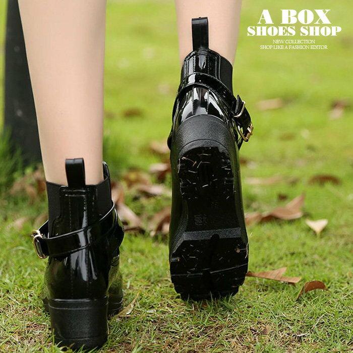 【AR610】晴雨兩穿2ways 超防水 韓版質感亮面PVC 金屬扣環 中粗跟雨鞋 / 雨靴 馬丁靴 機車靴 黑色 2