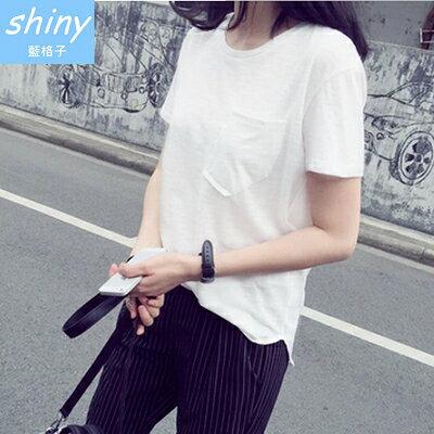 【V1585】shiny藍格子-純色隨性.胸前口袋圓領寬鬆短袖上衣