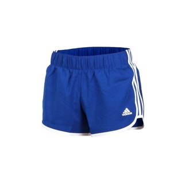 ADIDAS女裝短褲慢跑訓練透氣舒適寶藍白【運動世界】CE2012