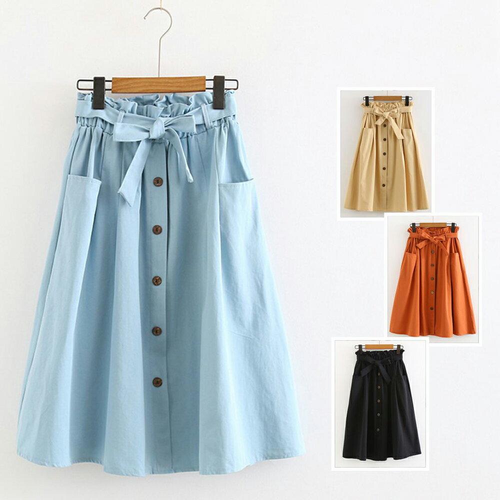 小清新大口袋高腰棉麻繫帶半身裙(4色F碼)【OREAD】 1