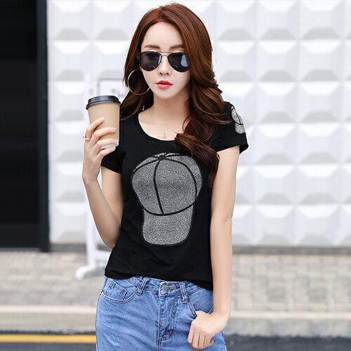 韓版鑲鑽時尚T恤(2色S~3XL)*ORead*