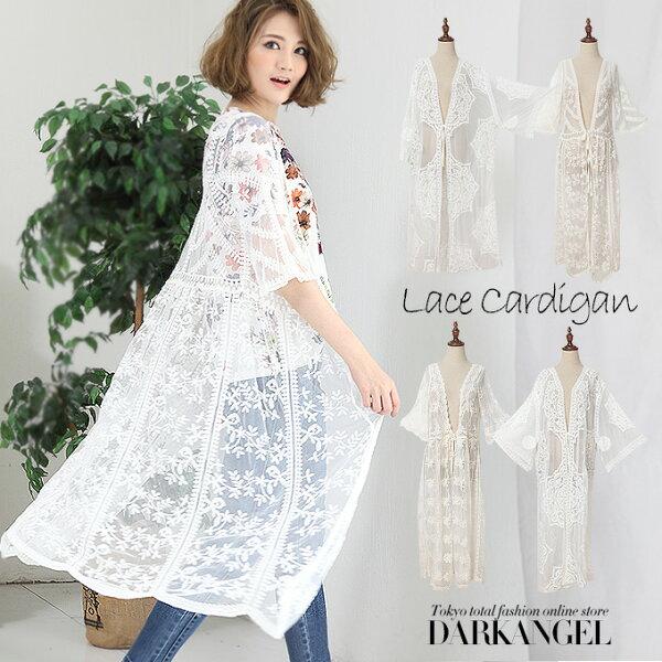 日本必買女裝DarkAngel長款蕾絲刺繡開襟外套-免運代購
