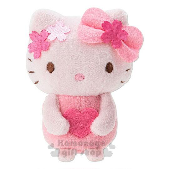 〔小禮堂〕Hello Kitty 造型絨毛沙包娃娃《SS.粉.櫻花.愛心》早春櫻花系列