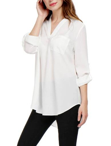 Women V Neck Roll Up Sleeves Hi-lo Hem Chiffon Tunic Top White /L (US 14) 209574843b45bc574edc26d4356baa25
