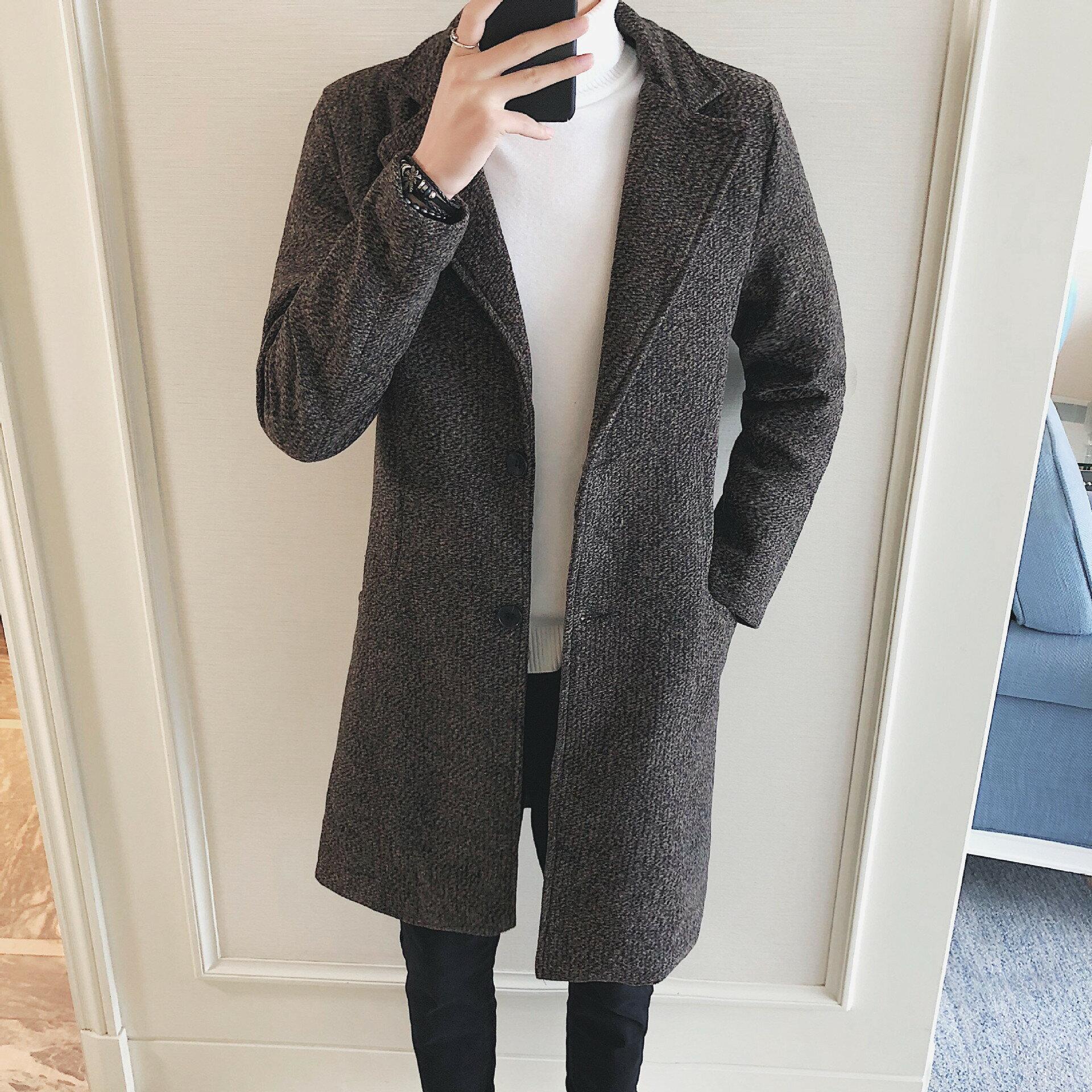 2021秋冬季男士中長款韓版修身毛呢大衣加棉男裝呢子風衣潮流外套