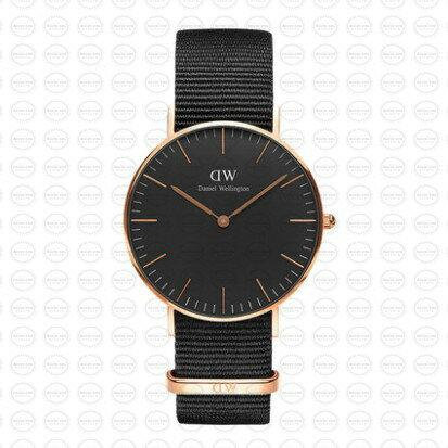 36MM 0150DW 黑錶面玫瑰金邊 簡約尼龍錶帶 瑞典正品代購 Daniel Wellington 對錶手錶腕錶 0