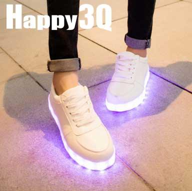酷炫純色七彩絢麗發光LED情侶鞋帆布鞋小白鞋-白35-45【AAA0175】