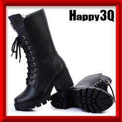 英倫風潮流真皮高跟粗跟拉鍊中筒靴女靴子-十字/皇冠35-40【AAA0854】