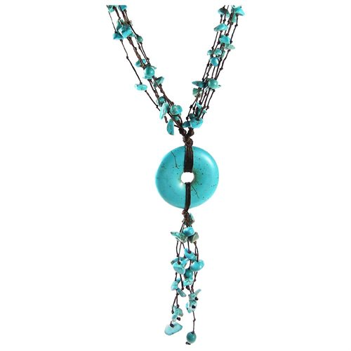 Multi Strand Turquoise Donut Wax Rope Necklace 0