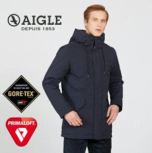 【AIGLE法國】CORSEL防水保暖外套化纖外套防水外套防水夾克男款深藍色(AG-8F102-A057)