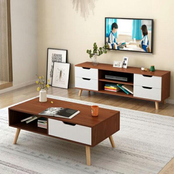 !新生活家具!《歐尼爾》DIY家具組電視櫃+茶几二套組收納櫃長形茶几實木腳北歐現代三色