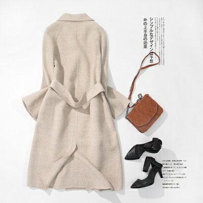 毛呢外套羊毛大衣-杏色小格子繫帶長版女外套73ty60【獨家進口】【米蘭精品】