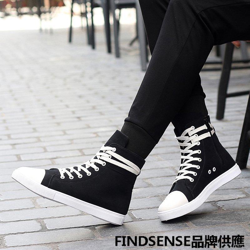 FINDSENSE品牌 四季款 新款 日本 男 高品質 簡約 學院風 舒適透氣 高幫帆布鞋 時尚 運動休閒鞋 潮流鞋子